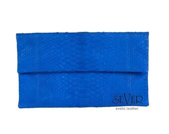 Blue Leather Clutch, Blue Evening Bag, Python Clutch, Leather Clutch, Fold Over Clutch, Blue Clutch, Snakeskin Clutch, Python Bag, SV-0036