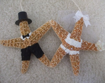 Bride and Groom Orn, Starfish Ornament, Bridal Shower Gifts, 1st Christmas Orn