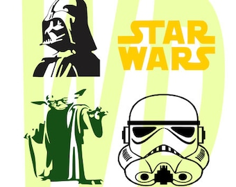 Star Wars darth vader, storm trooper ,yoda svg, dxf, eps cutting files for cricut and Silhouette Cameo
