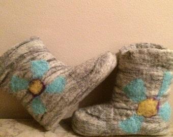 Handmade felted bootie slipper