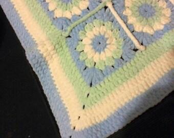 Baby boys snuggley crochet fleece blanket
