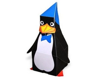Paper toy Penguin for self-assembly. Printable A4 PDF and JPEG. Instant Download.