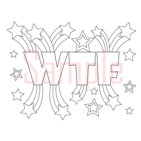 Sweary Coloring Page WTF 1 Swearing Coloring Pages Sweary