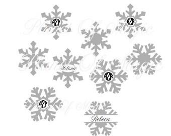 Snowflakes Monogram SVG File, EPS File, Snowflake Split Monogram, Winter Monogram Vinyl Projects File, 9 Cutting File