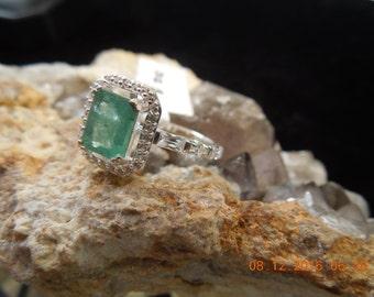 Natural Emerald Ring; Emerald Multistone Ring