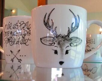 Cafe Boreal deer hand painted mug