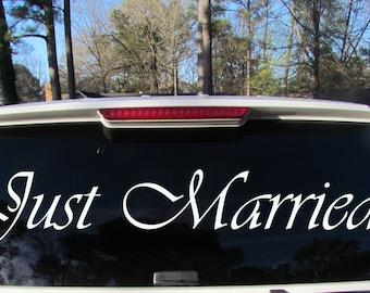 Just Married Decal Just Married Getaway Car Decal Just Married Car Decal Wedding Banner