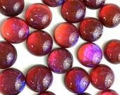 5mm Round Mexican Opal Glass Cabochon with Flat Back and Low Dome--sold as batch of six (6)