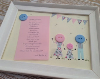 Personalised godparent framed button picture.