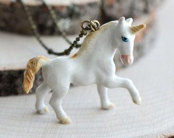 Hand Painted Porcelain Unicorn Necklace, Antique Bronze Chain, Vintage Style Creature, Ceramic Animal Pendant & Chain (CA082)
