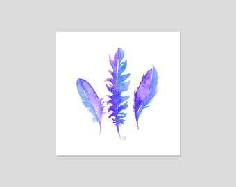 Feathers Watercolour Square Illustration Art Print *more colours*