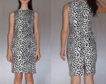 Fluffy 90s Dalmatian Print Dress