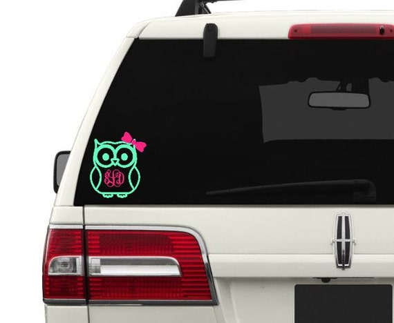 monogram owl car decal owl laptop decal owl cell phone