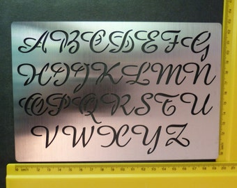 Stainless Steel stencil Oblong Upper Case Script Alphabet Emboss LARGE