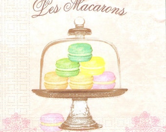 Macarons decoupage paper napkins, 4 Paris napkins for decoupage, French sweets napkins, collage and mix media serviette, paper crafts g010
