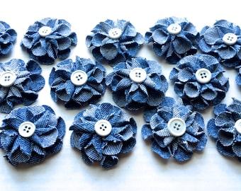 Denim Jean Flowers, 6 Piece Set, 2 inch Flower, 3 inch Flower, 4 inch Flower, Flower Crafts, Denim Wedding, Headband Suppy, Bulk Blue Flower