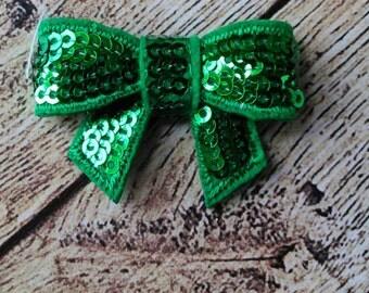 2 Mini 1.5 Inch Green - DIY Supplies - Headbands - Hair Clips - Hair Accessories - Sparkle - Green Sequins - Bows