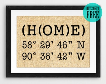GPS Coordinates Prints, Longitude Latitude Sign, Personalized Address Sign, Home Decor, Burlap Prints, New Home Housewarming Gifts, CM87
