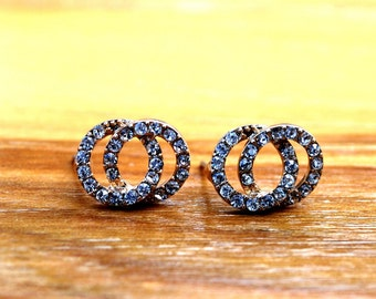 Double Hoop Stud Earrings