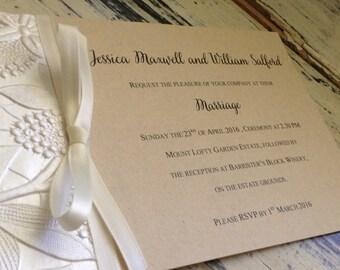 Vintage Bloom Rustic Wedding Invitation