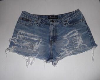 "HALF OFF! LEI Low-Rise Destroyed Denim Blue Jean Cut-Off Shorts 32"" Waist"