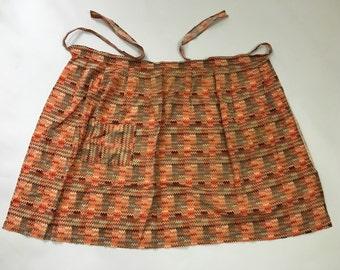 Vintage 1960s 70s Apron Waist Pinny Orange Chevron Kitsch