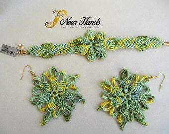 Handmade macrame bracelet and earrings