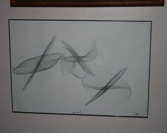 "BLACK large HARMONIC drawing  13"" X 19"""