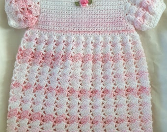 Crocheted pink baby dress