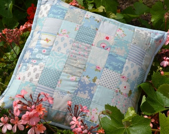 Blue patchwork Tilda cushion