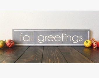 Engraved Wood Fall Greeting Sign Stained Decor