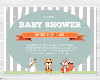 Woodland Baby Shower Invitation Boy, Boy Baby Shower, Gender Neutral, Rustic, Forest, Blue, Orange, Fox