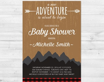 Baby Shower Invitation Boy, Lumberjack, Rustic, Adventure, Mountains, Plaid, Wilderness, Printed, Printable, Woodland, Arrow