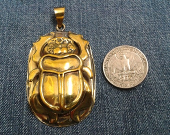 Egyptian Brass Scarab Beetle Pendent