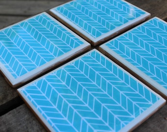 50% off! Blue and white chevron coaster set
