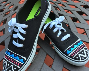 Custom  Hand-Painted Colorful Aztec Canvas Shoe