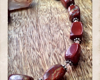 Red jasper, swarovski crystal, and sterling beaded necklace