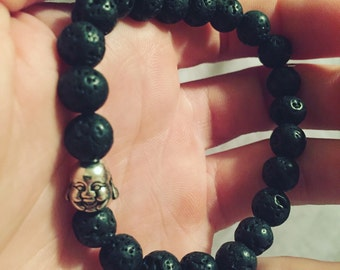 Mens buddha bracelet with lava beads