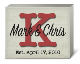 Personalized Rustic Large Letter Monogram Print (Canvas or Metal)
