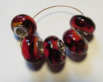 5 glass beads fits european bracelet LHJ3-4