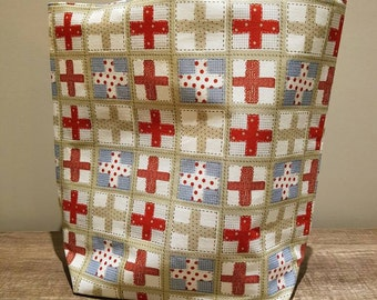 Cross tote bag, country cross pattern, swiss pattern. Large tote bag. Cross pattern. Shopping bag. Country style.