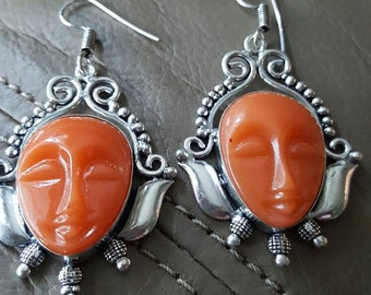 Carved Face Agate Earrings!