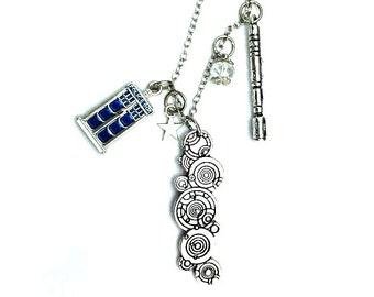 "Police Box Gallifrey Sonic Screwdriver Doctor Who Inspired Beaded Charm 20"" Chain Necklace Silver Tone"