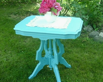 Victorian Table, Eastlake Style, Turquoise  Table, Accent Table, Side Table, Upcycled Furniture, Pick Up only, Albany, Hudson Valley, NY