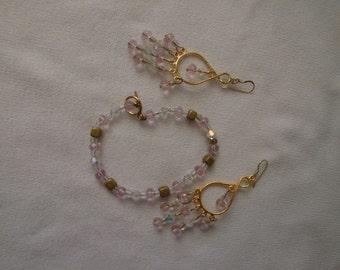 Bracelet and Chandelier Earring Set, Swarovski Crystal Beads