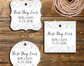 Best Day Ever Gift Tags,  Personalized Favor Tag, Set of 12, PC0204