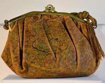 Victorian Embossed Leather Ladies Purse with Corded Handle