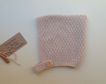 READY TO SHIP - Baby Pixie Bonnet hat 100% cashmere color beige  hand knit , size 6-12 months