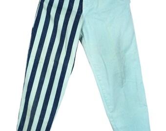 Striped High Waisted Denim Jeans