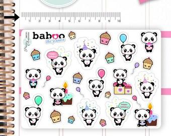 Kawaii Birthday Stickers Cute Baboo Panda Stickers Birthday Stickers Planner Stickers Functional Stickers Decorative Stickers NR781